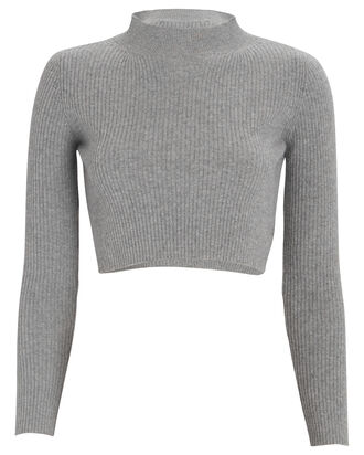 Forget Me Not Cropped Sweater, GREY, hi-res
