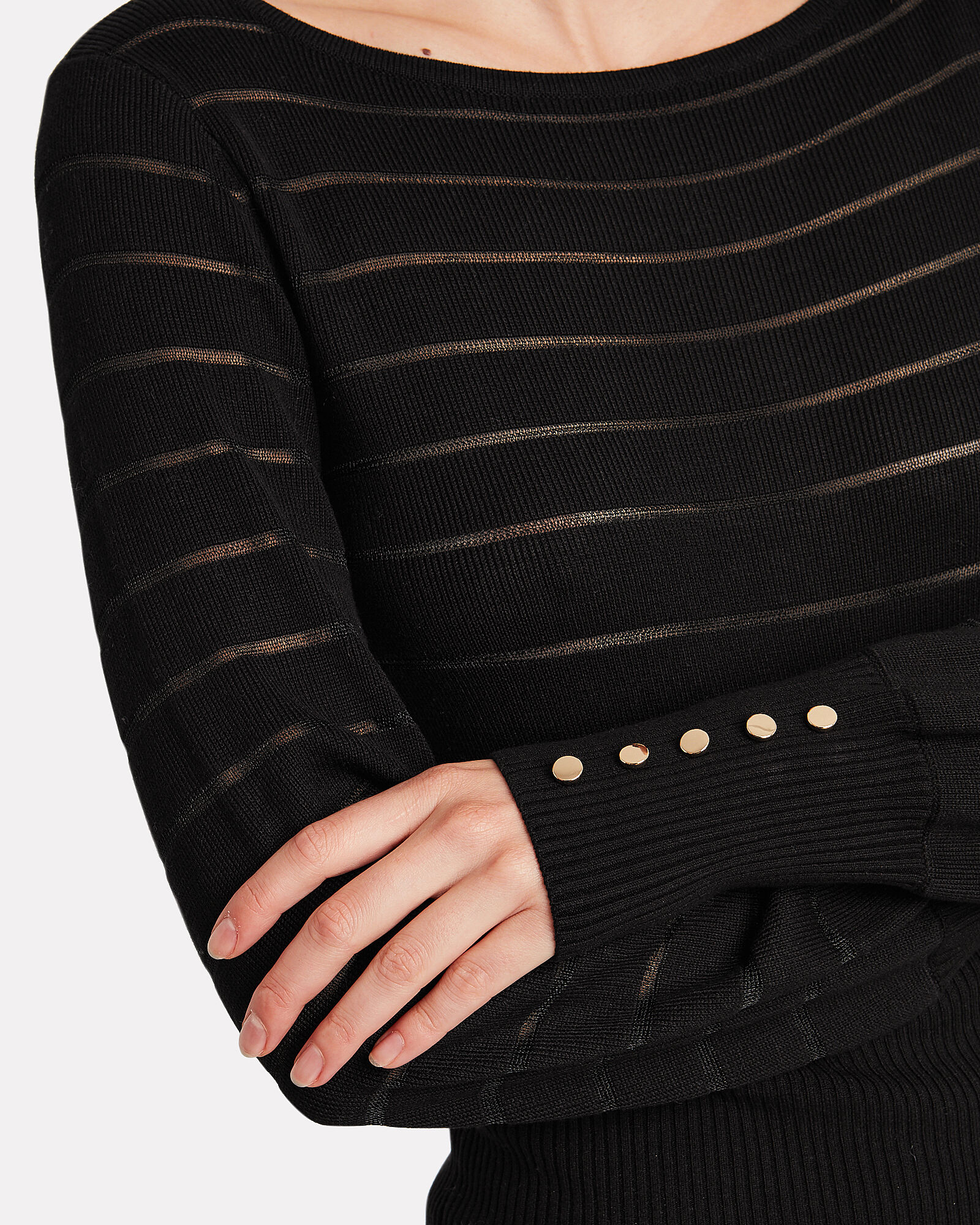 Freya Semi-Sheer Striped Sweater, BLACK, hi-res