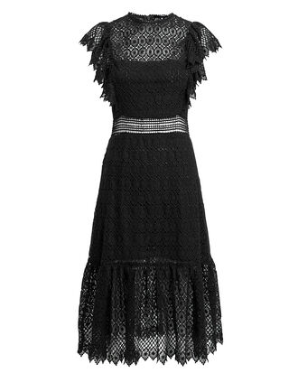 Crochet Black Dress, BLACK, hi-res