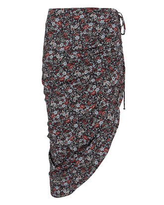 Ari Floral Ruched Skirt, BLACK/DARK FLORAL, hi-res