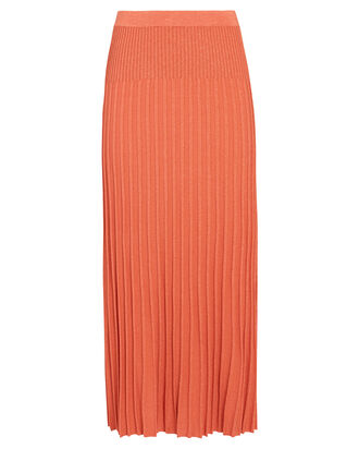 Georgia Pleated Knit Midi Skirt, ORANGE, hi-res