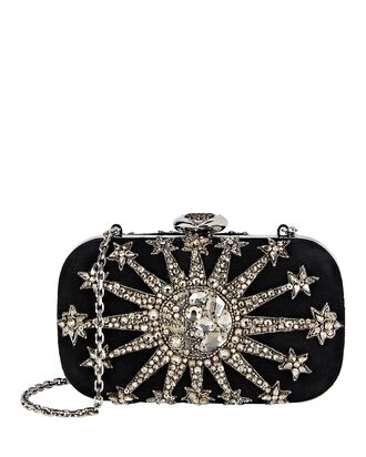 Crystal Embroidered Heart Box Clutch, BLACK, hi-res