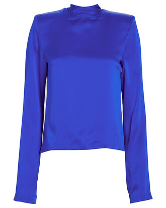 Freddie Charmeuse High Neck Blouse, BLUE-MED, hi-res