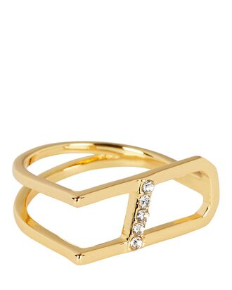 Open Pavé Bar Ring, GOLD, hi-res