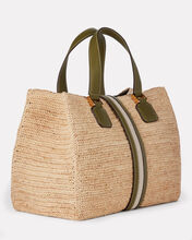Riviera Leather-Trimmed Raffia Tote, BEIGE/GREEN, hi-res