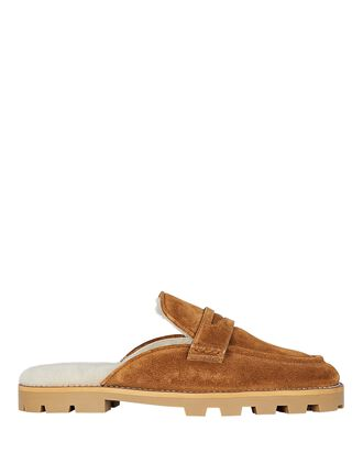 Ronnie Shearling-Trimmed Suede Mules, BROWN, hi-res