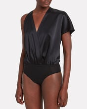 One-Shoulder Draped Bodysuit, BLACK, hi-res
