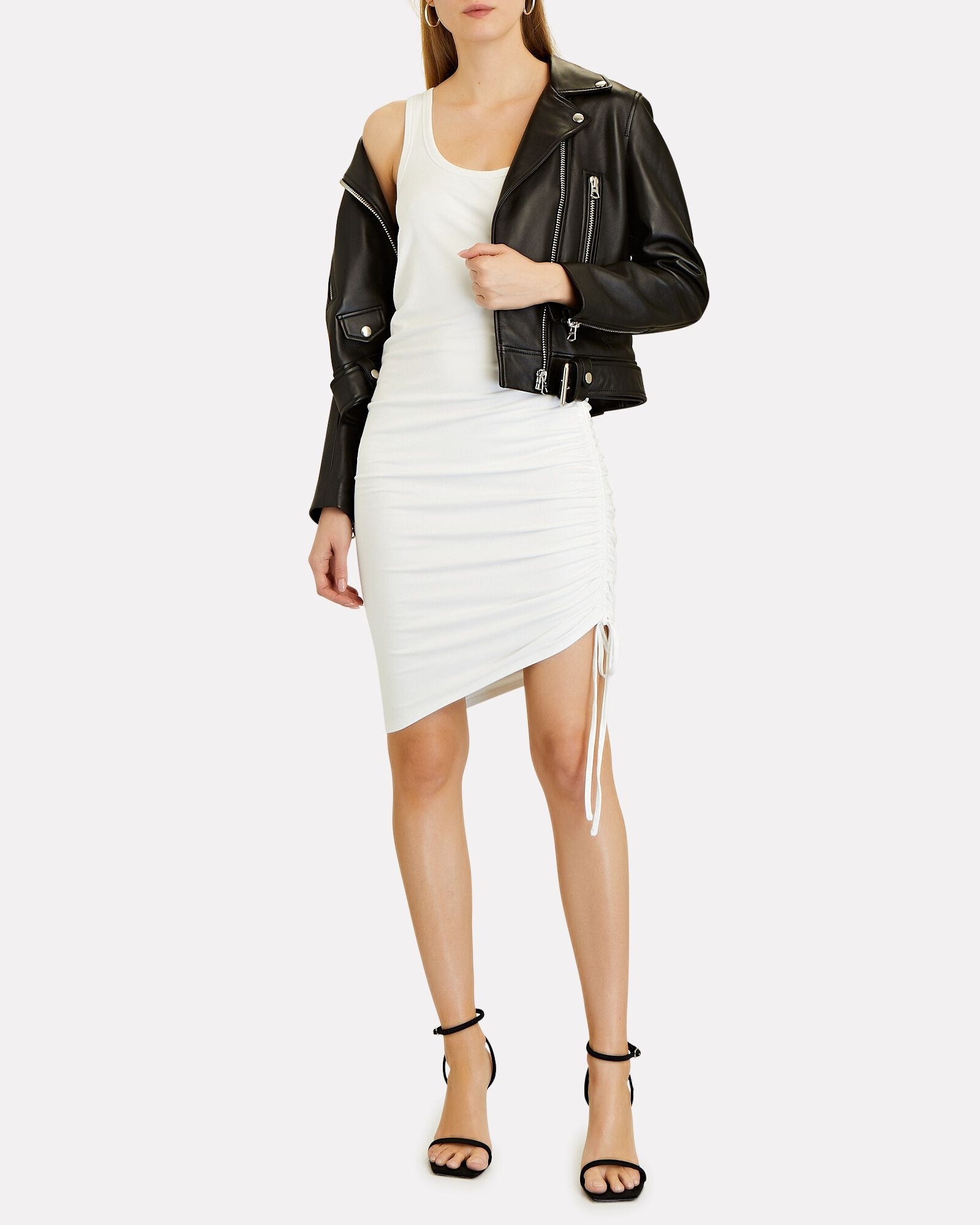 Dimitri Ruched Tank Dress, WHITE, hi-res