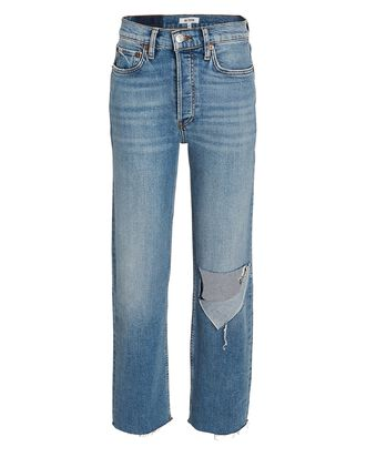 High-Rise Stove Pipe Jeans, DISTRESSED BRISK BLUE, hi-res