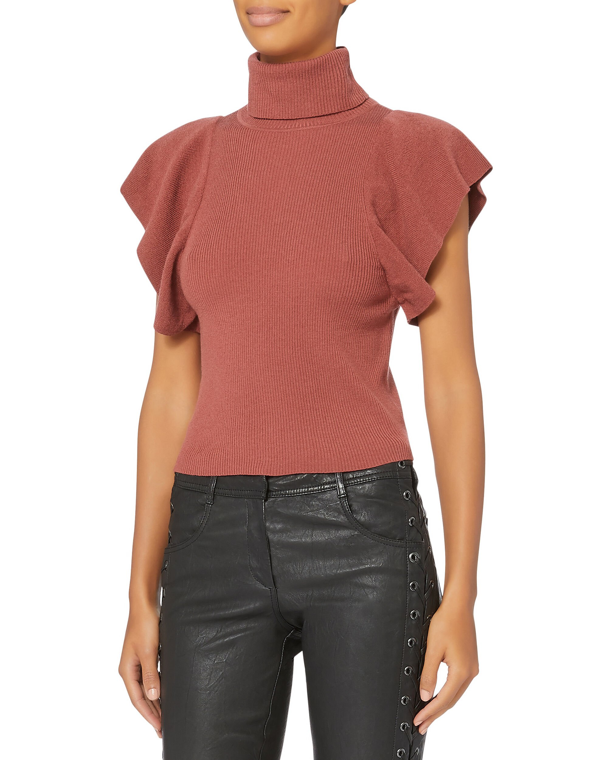 Jae Ruffle Knit Red Top, RED, hi-res
