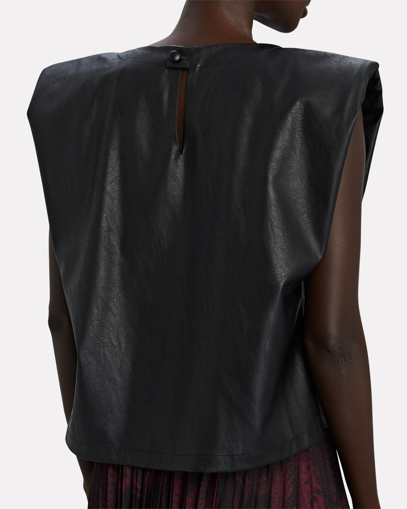 Serafina Padded Shoulder Vegan Leather Top, BLACK, hi-res