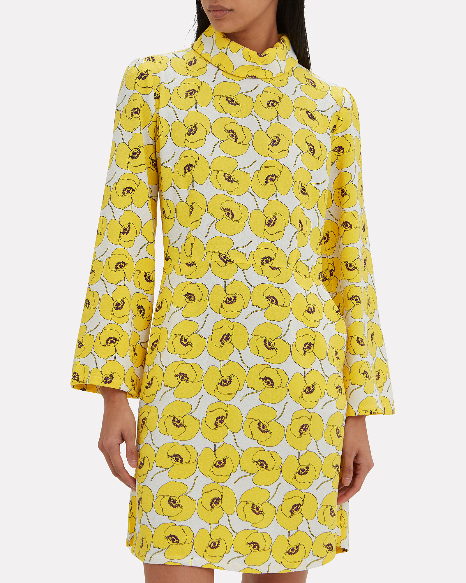 Mynte Yellow Floral Dress, YELLOW, hi-res