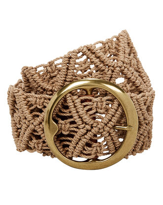 Nevada Wide Macramé Belt, BROWN, hi-res