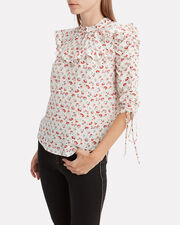 Howell Floral Blouse, WHITE, hi-res