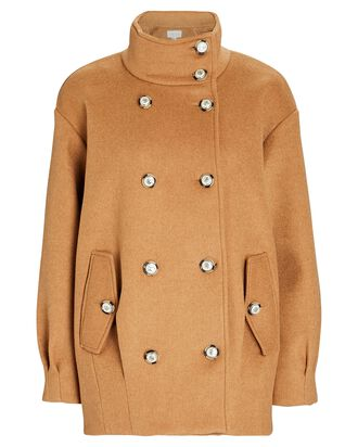 Cassie Double-Breasted Wool-Blend Coat, BROWN, hi-res