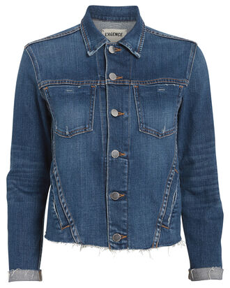 Janelle Cropped Denim Jacket, INDIGO DENIM, hi-res