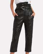 Anniston Cropped Leather Paperbag Pants, BLACK, hi-res