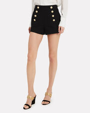 Tailored Black Sailor Shorts, BLACK, hi-res