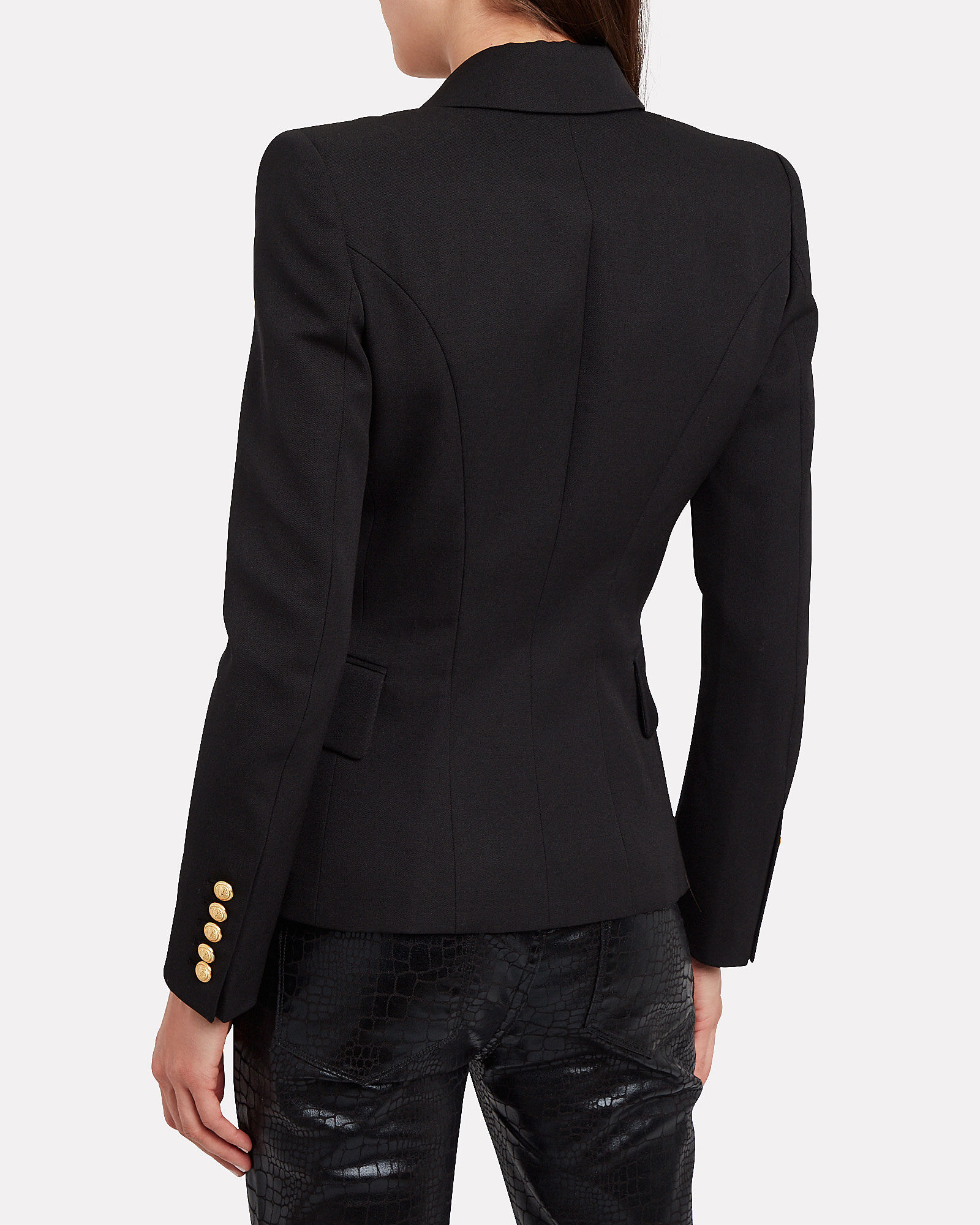 Double-Breasted Wool Blazer, BLACK, hi-res