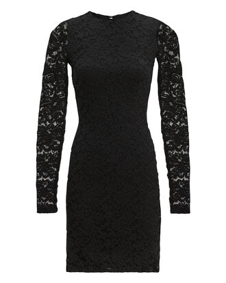 Black Sweater Lace Dress, BLACK, hi-res