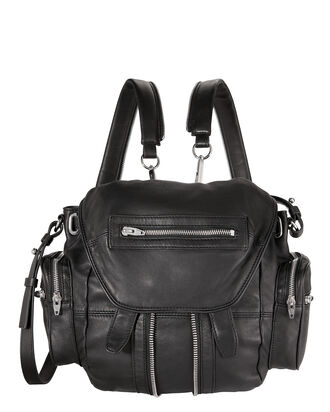 Marti Mini Leather Backpack, BLACK, hi-res
