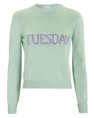 Tuesday Mint Green Lurex Sweater, SILVER, hi-res