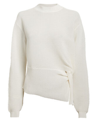 Twisted White Sweater, WHITE, hi-res