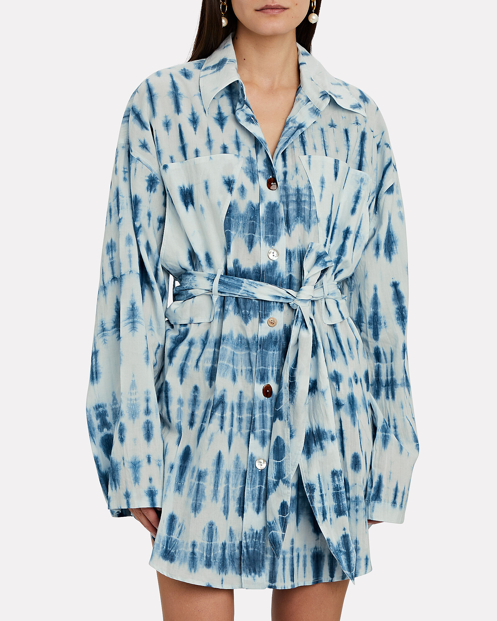 Keiko Tie-Dye Cotton Shirt Dress, BLUE/WHITE, hi-res