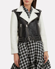Heavy Leather Black And White Combo Jacket, BLACK/WHITE, hi-res