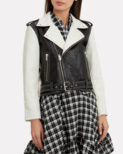 Heavy Leather Black And White Combo Jacket, BLK/WHT, hi-res