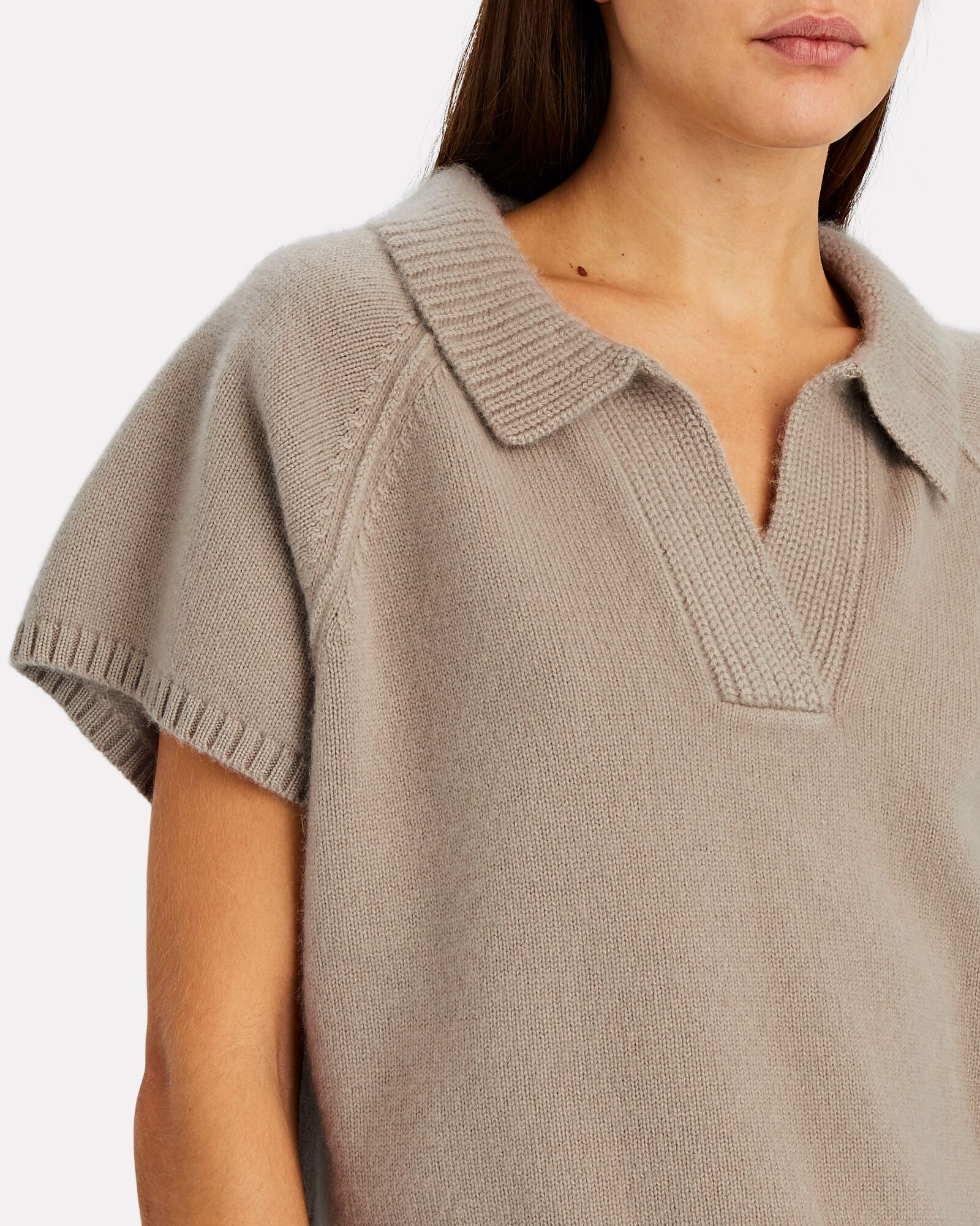 Ryan Cropped Cashmere Polo Sweater, BEIGE, hi-res
