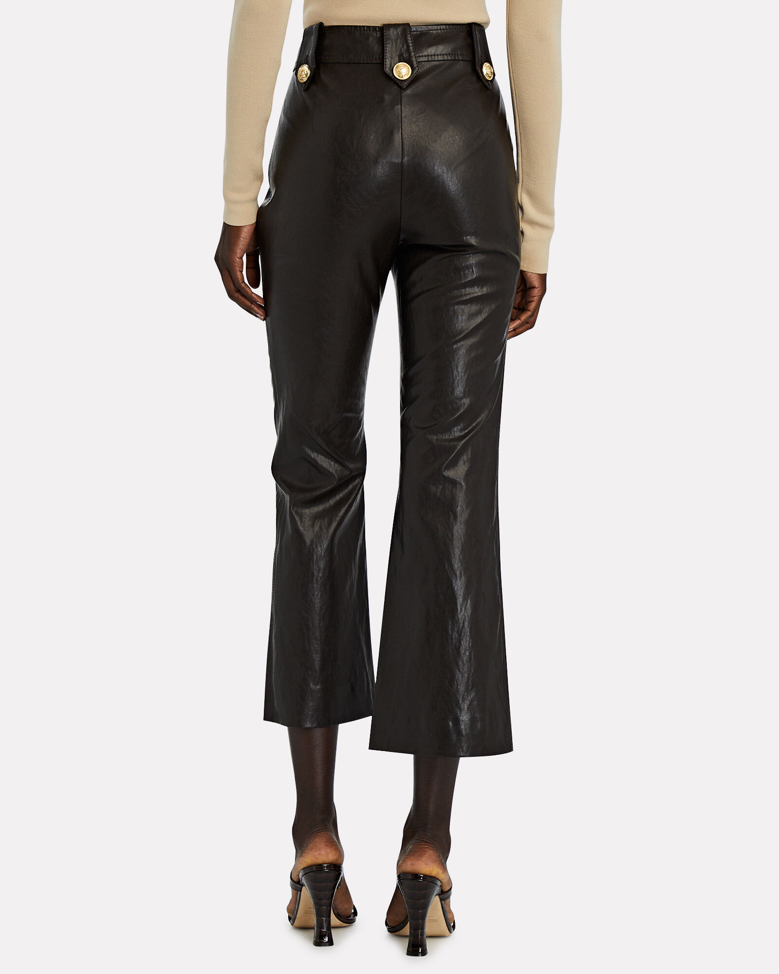 Corinna Vegan Leather Sailor Pants, BLACK, hi-res