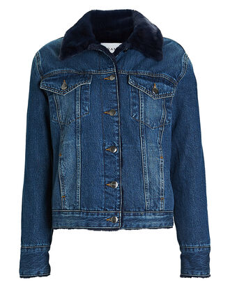 Faux Fur-Lined Denim Jacket, DENIM, hi-res