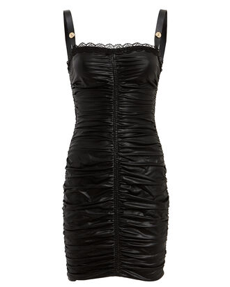 Ruched Coated Mini Dress, BLACK, hi-res