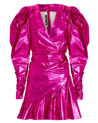 No. 24 Raspberry Metallic Mini Dress, FUSCHIA, hi-res
