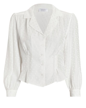 Lenora Polka Dot Shirt, WHITE, hi-res