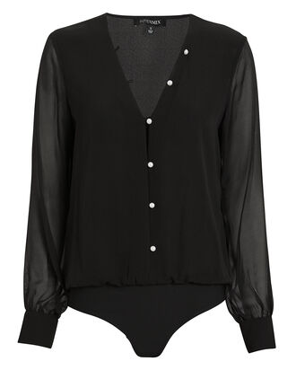 Solange Silk Button Front Bodysuit, BLACK, hi-res