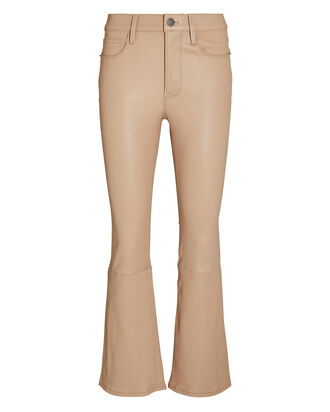 Le Crop Mini Boot Leather Pants, ALMOND, hi-res