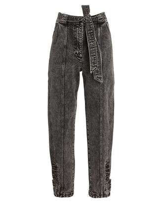 Carmen Belted Tapered Jeans, ACID WASH DENIM, hi-res