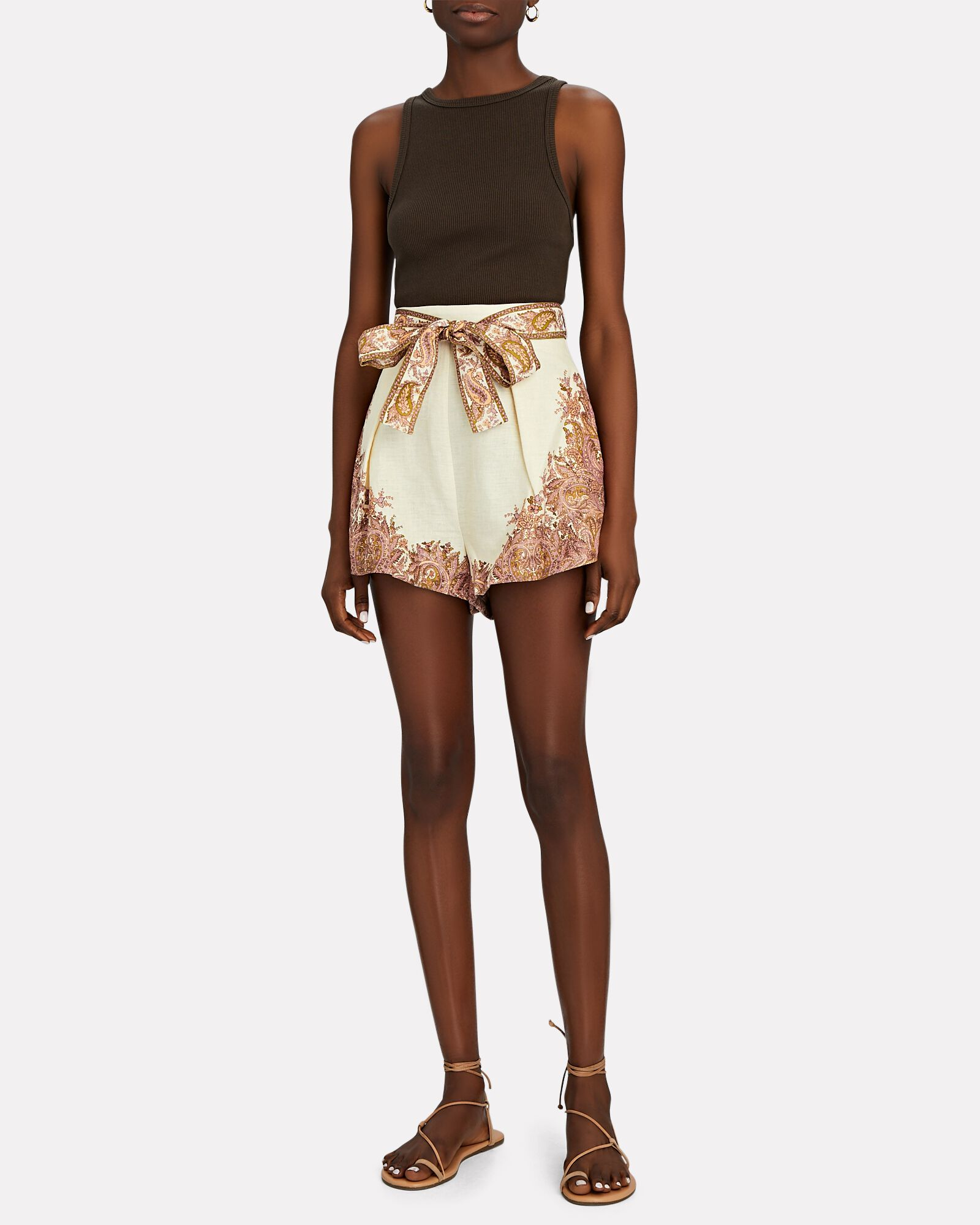 Brighton Paisley Tie-Waist Shorts, IVORY/BROWN, hi-res