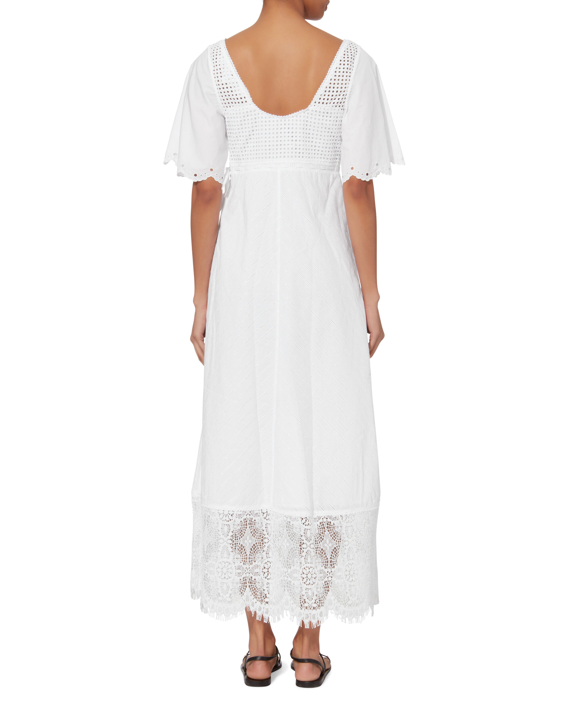 Long Broderie White Maxi Dress, WHITE, hi-res