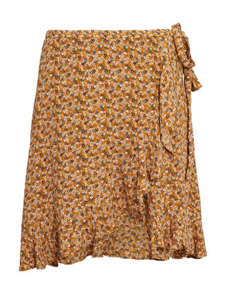 Limon Floral Wrap Mini Skirt, LIGHT BROWN, hi-res