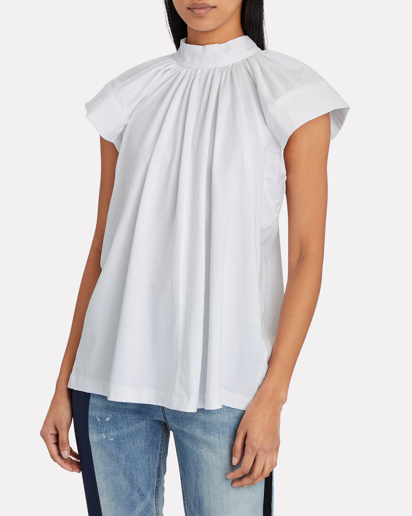 Pleated Cotton Top, WHITE, hi-res