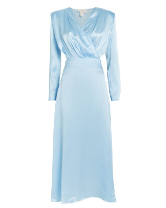 Satin Cut-Out Long Sleeve Dress, LIGHT BLUE, hi-res