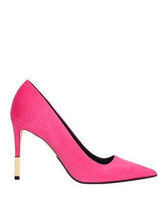 Daphne Gold Heel Pumps, PINK, hi-res