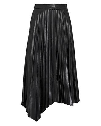 Jayla Pleated Vegan Leather Skirt, BLACK, hi-res
