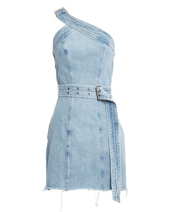 Callie One Shoulder Belted Denim Dress, LIGHT BLUE DENIM, hi-res