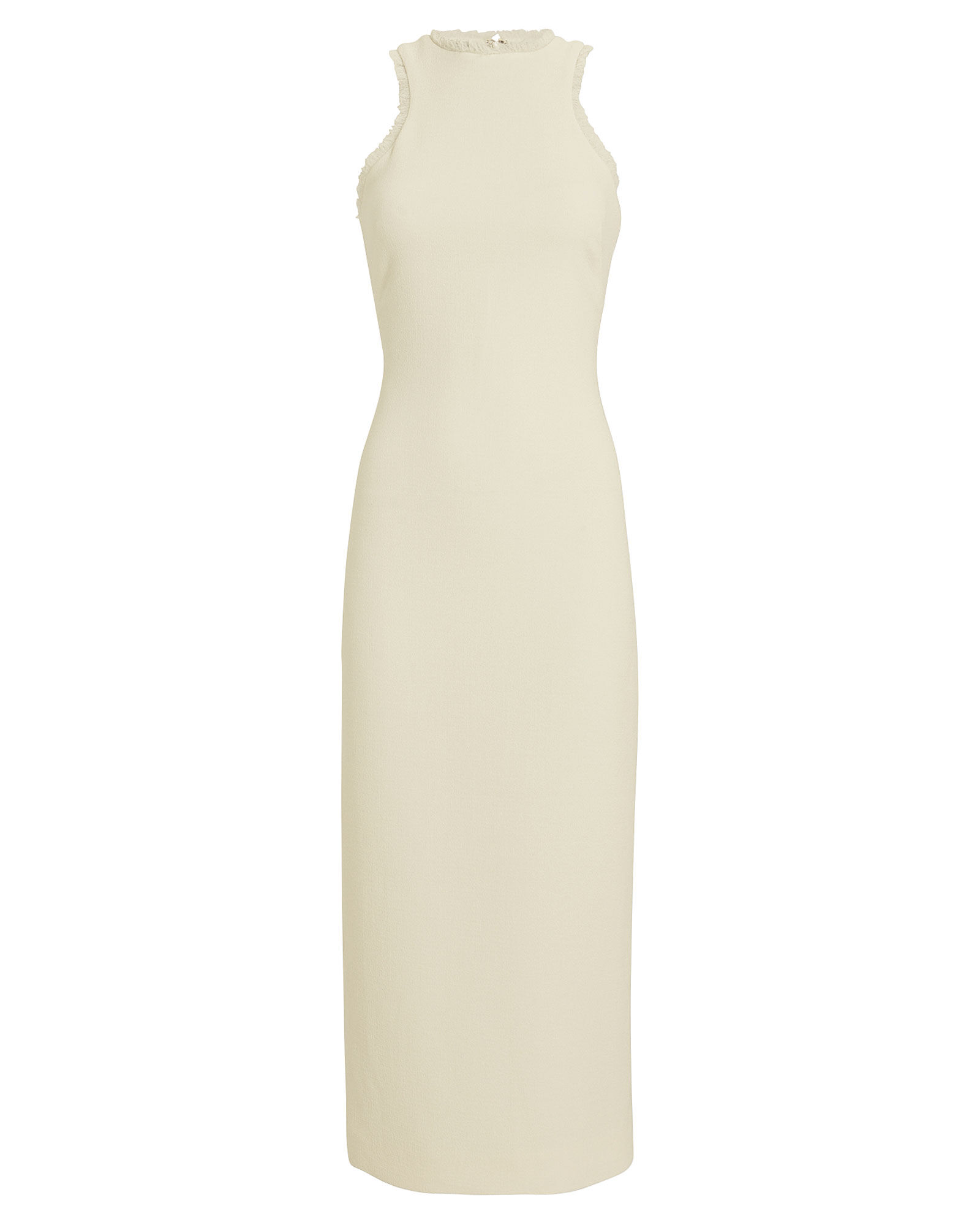 Wool Crepe Fringe-Trimmed Dress, IVORY, hi-res
