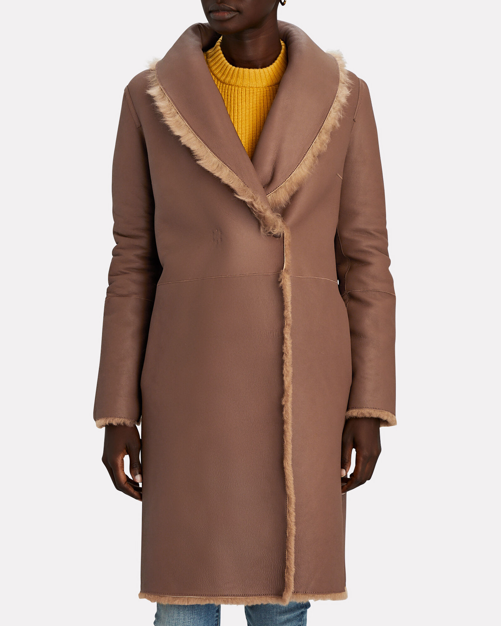 Belted Reversible Shearling Coat, BROWN, hi-res