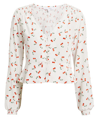 Sienna Cherry Print Blouse, WHITE/RED, hi-res